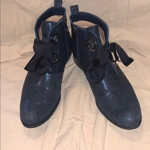 Leather Black/Blue Ankle Boots Size 39